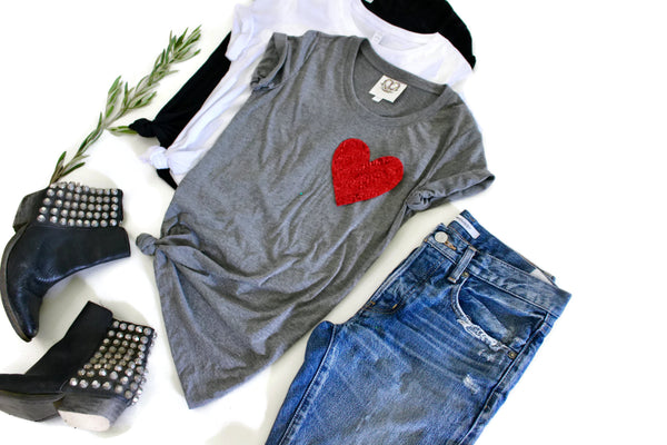 Valentines Shirt / Sequin Top / Heart / Women's Tee / Valentines Day / Cute T Shirts / Girlfriend Gift / Her / Mom / Love / Sequin Patch