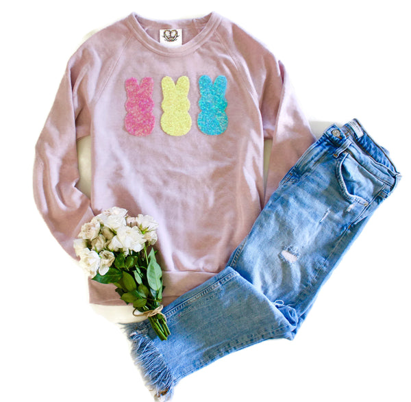 Easter Shirt Women. Sequin Patch. Sweatshirt. Easter Gift for Her. Bunny Sweater. Cute. Easter Bunny. Chillin with my Peeps.  Pastel Rabbit