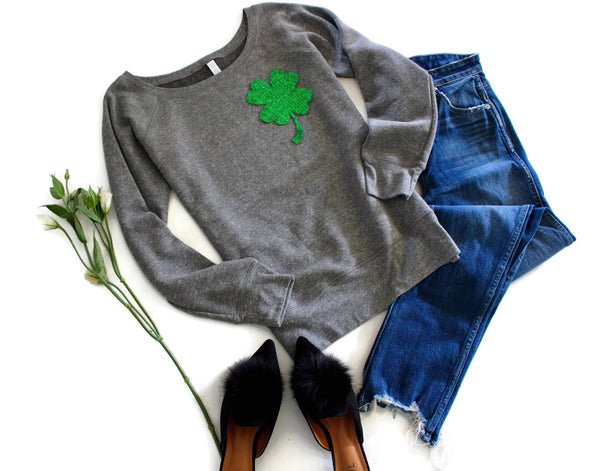 St Patricks Day Shirt Women / Sequin Patch / Shamrock Pocket Patch / Four Leaf Clover Sweatshirt / Off the Shoulder / St Patricks Day / Cute