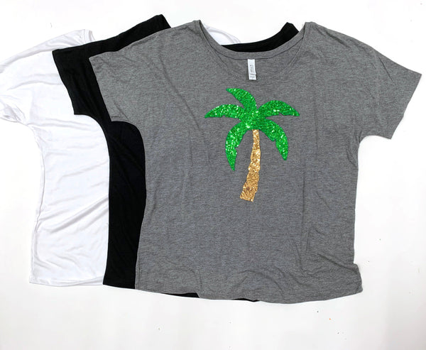 Vacation Shirt / Sequin Palm Tree Tee / Sequin Top / Hollywood / Womens / Summer Shirt / Cute T Shirts / Honeymoon Gift / Her / Los Angeles