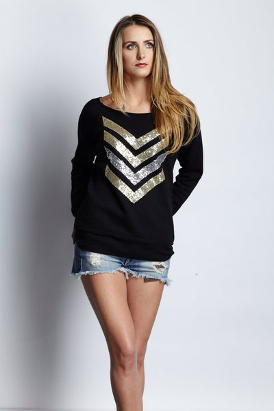 Womens Sweatshirt / Sequin Patches / Military Wife Gift / Chevron Arrows / Army Shirt / Geometric Print Shirt / Off the Shoulder Top