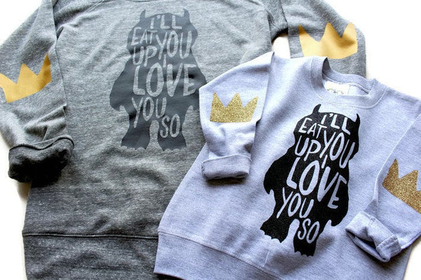 Mommy and Me Shirts / Sweatshirt / Where the Wild Things Are / Crown / Elbow Patches / Birthday Party Shirt / Mom / I'll Eat you Up
