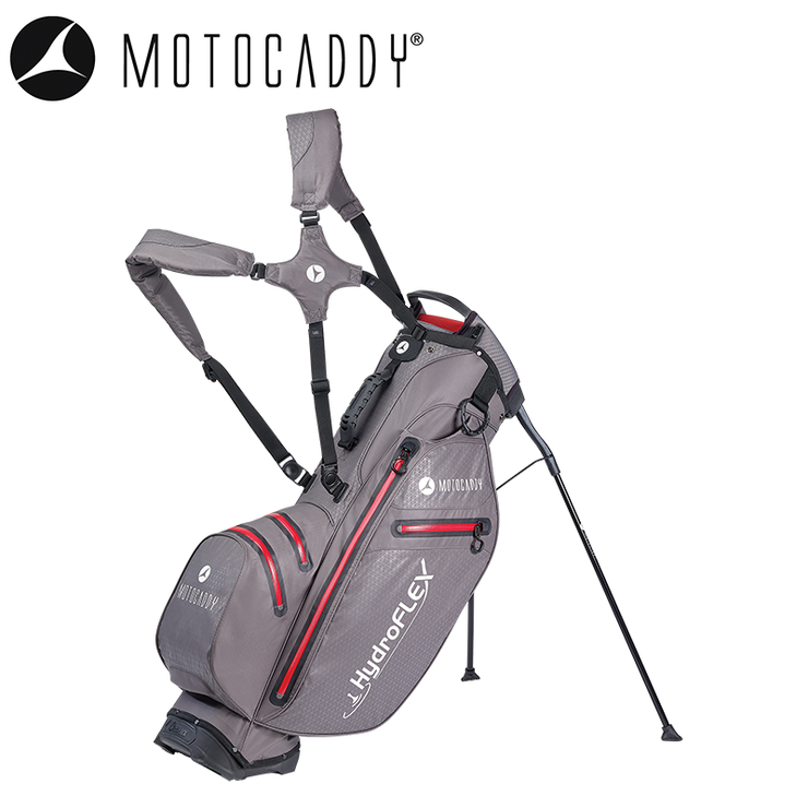 Motocaddy-Hydroflex-Golf-Bag-Charcoal-Red-Standing