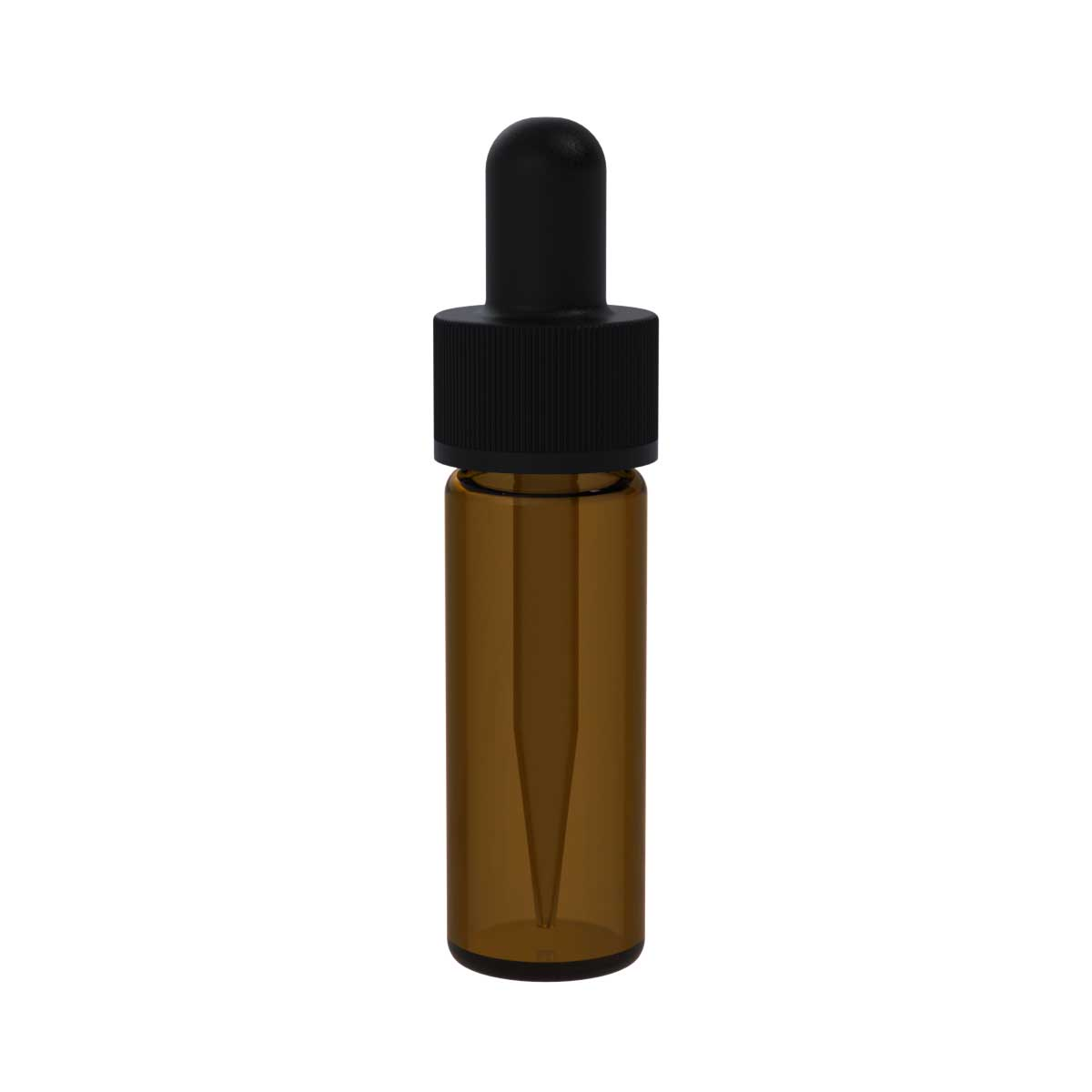 Amber glass dropper bottle with black cap