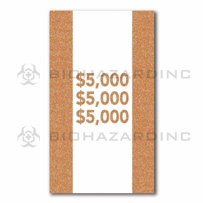 Biohazard Inc Currency Strap 100 Bill Capacity $5,000 Brown Currency Strap - 1000 Count