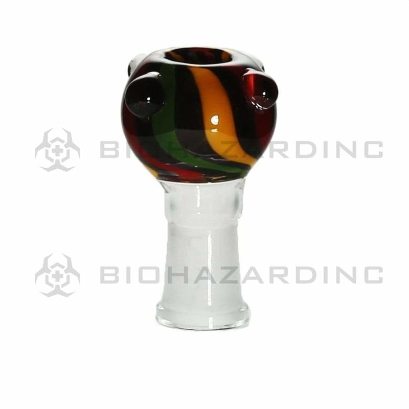 Biohazard Inc 14mm Bowl 14mm Heavy Female Bowl with Marbles - Candy Cane