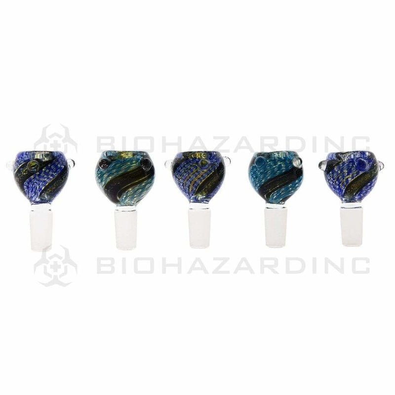 Biohazard Inc 14mm Bowl 14mm Striped Dichroic Glass Bowl - 5 Pack