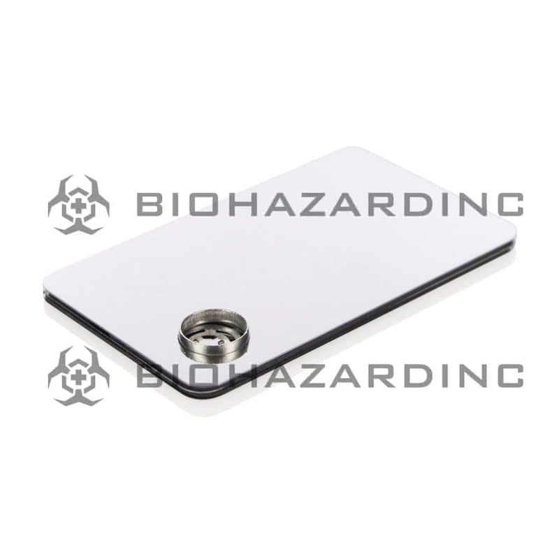 "Biohazard Inc Metal Hand Pipe 3 1/2"" Silver Metal Credit Card Pipe"