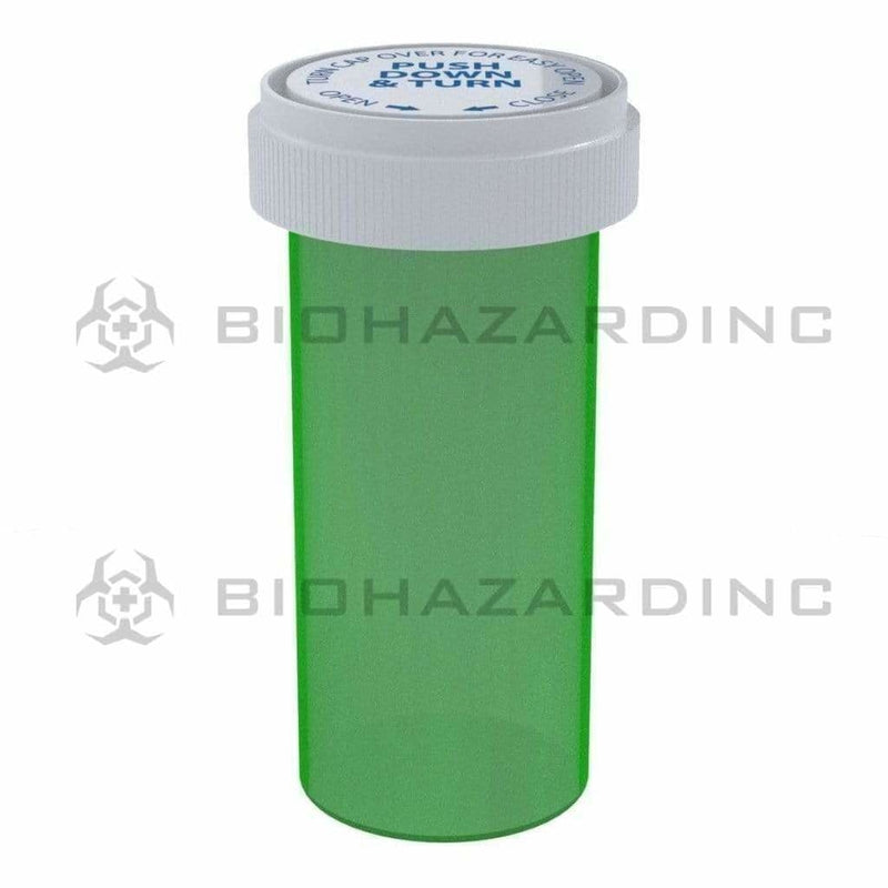 Biohazard Inc Reversible Cap Vial 40 Dram - Reversible Vial 150 Count - Green