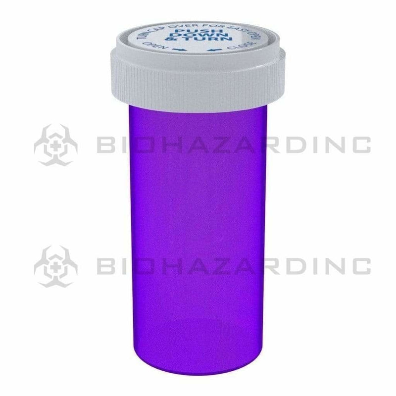 Biohazard Inc Reversible Cap Vial 40 Dram - Reversible Vial 150 Count - Purple