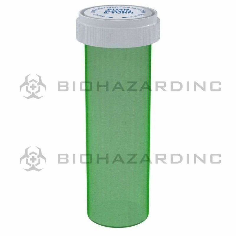 Biohazard Inc Reversible Cap Vial 60 Dram - Reversible Vial 100 Count - Green