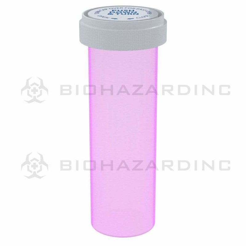 Biohazard Inc Reversible Cap Vial 60 Dram - Reversible Vial 100 Count - Pink