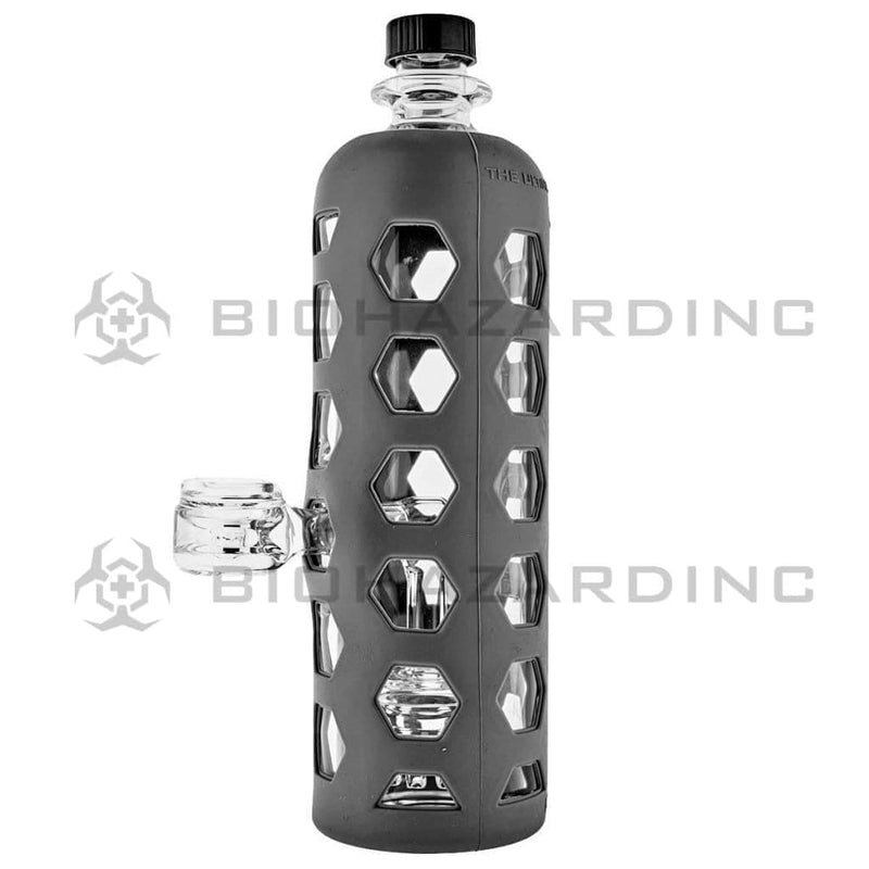 "Pure Glass Glass Bong 9"" PURE Water Bottle Mini Jellyfish Perc - Grey Hydroguard Sleeve"