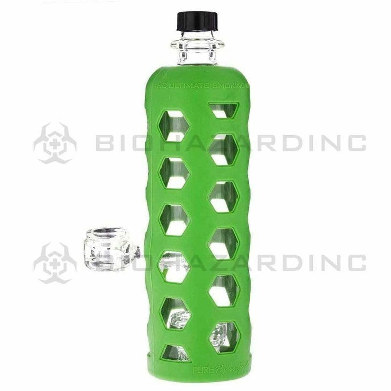 "Pure Glass Glass Bong 9"" PURE Water Bottle w/ Mini Jellyfish Perc - Green Hydroguard Sleeve"