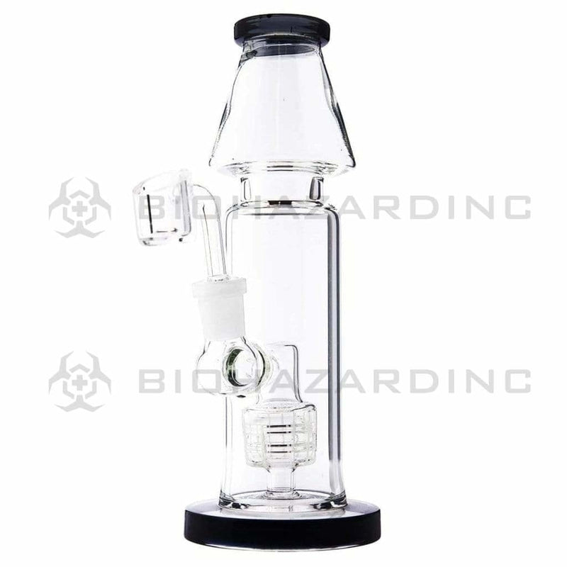 "Biohazard Inc Glass Dab Rig 9"" Straight Dab Rig w/ Rocket Showerhead Perc - Blue"