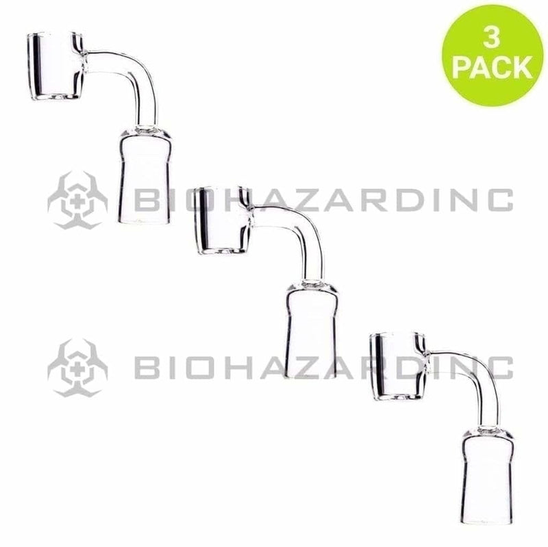 Biohazard Inc Quartz Banger 90 Degree Quartz Banger Flat Top 4mm Thick - Female 18mm - 3 Count