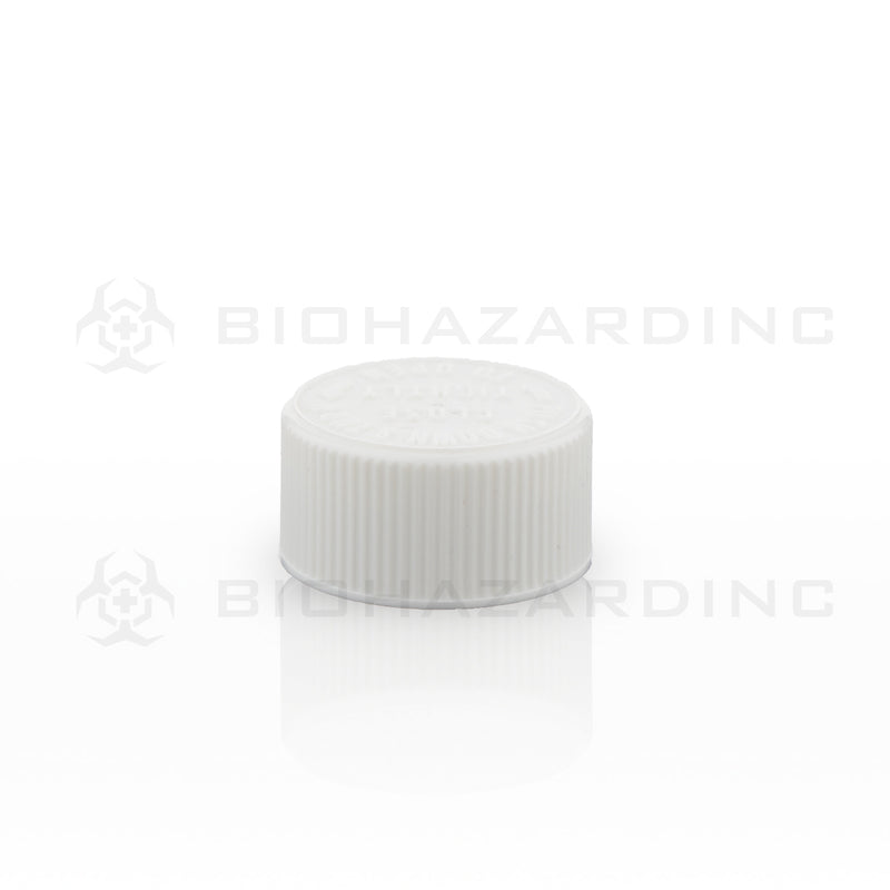 White Embossed Plastic Caps | 28mm | Child-Resistant