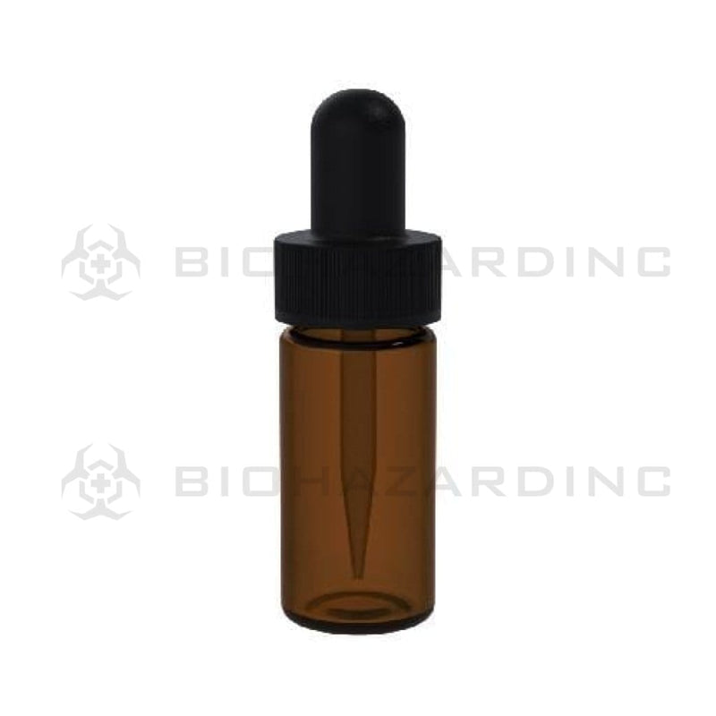 Biohazard Inc Glass Vial w/ Dropper Amber Glass Vial 2 1/3 Dram with Black Cap - 240 Count