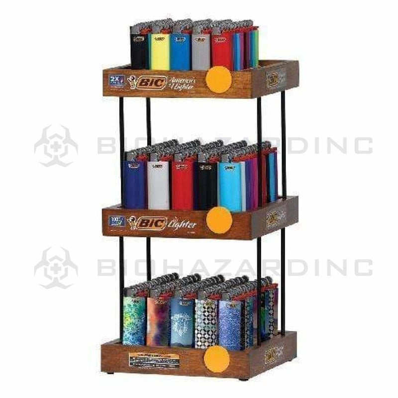 BIC Lighter Display Kit BIC Lighters 3 Tier Wooden Display - 150 Count