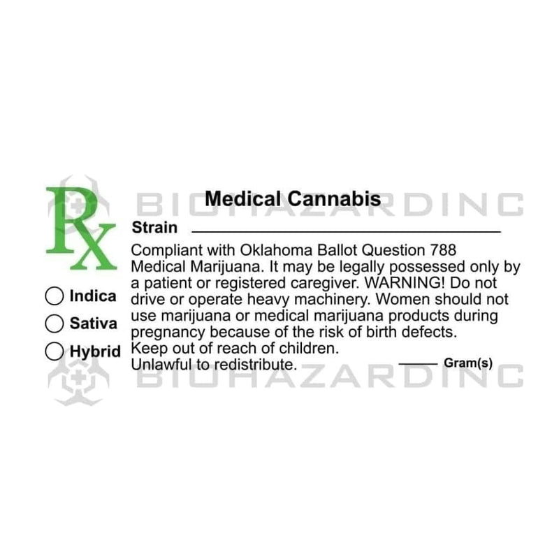 "Biohazard Inc Compliance Labels Oklahoma Medical Cannabis Labels 3""x 1.25""- 1,000 Count"