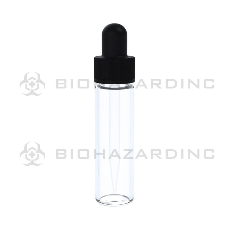 Biohazard Inc Glass Vial w/ Dropper Clear Glass Vial with Dropper Cap 2 Dram - 371 Count