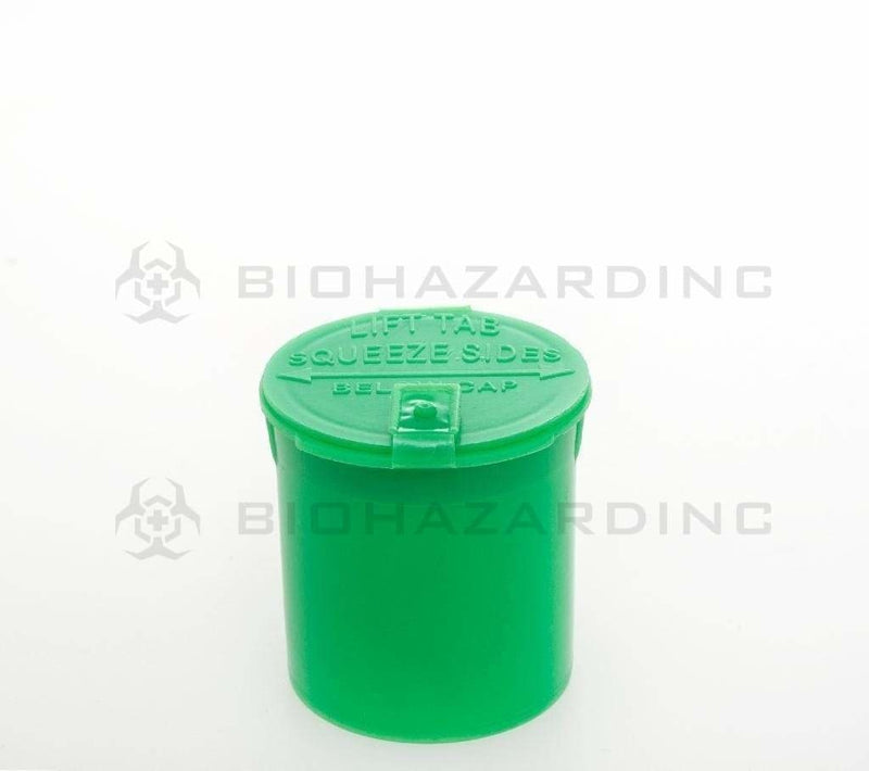 Biohazard Inc Child Resistant Pop Top Bottle Green Latch Top Bottle 6 Dram - 600 Count/Box