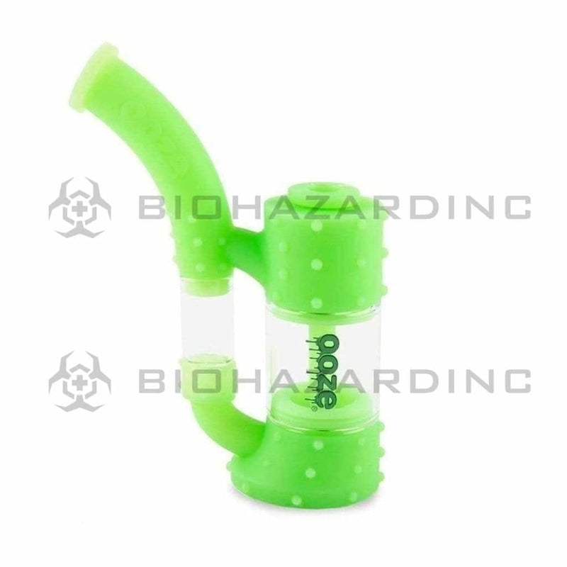 Biohazard Inc Silicone Bong OOZE Stack Pipe Silicone Bubbler - Green Glow in The Dark