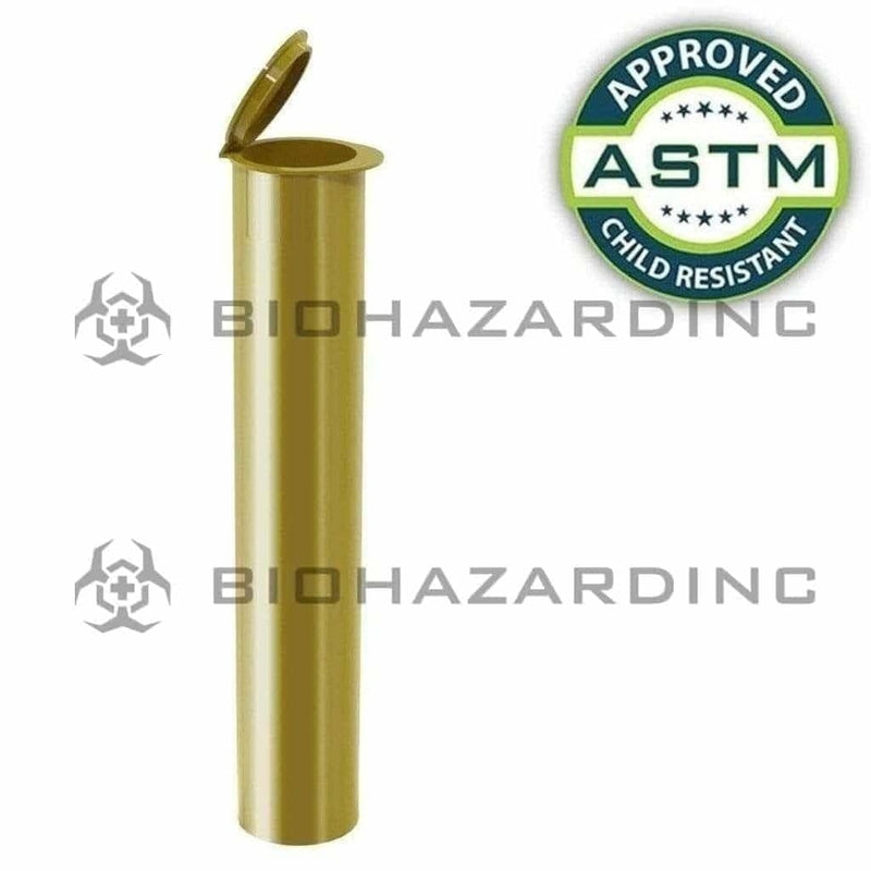 Biohazard Inc Child Resistant Joint Tube Opaque Gold 95mm CR Joint Tube - 1000 Count