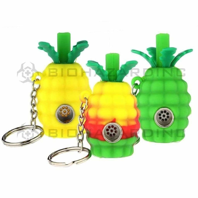Biohazard Inc Silicone Hand Pipe Silicone Mini Pineapple Key Chain Pipe