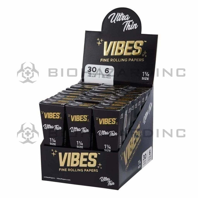 Biohazard Inc Pre-Rolled Cones VIBES Cones Ultra Thin 11/4 6-Pack 30 Count