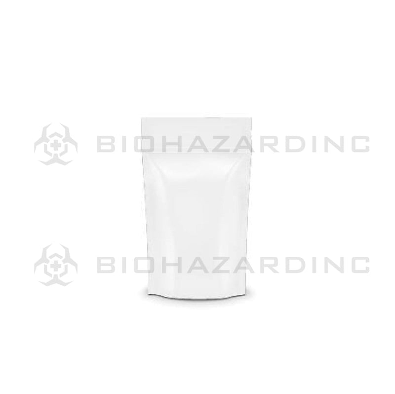 Biohazard Inc Mylar Bag White Mylar Bags w/ Tear Notch 3.62in x 5in - 3.5g - 1,000 Count (Tamper Evident)