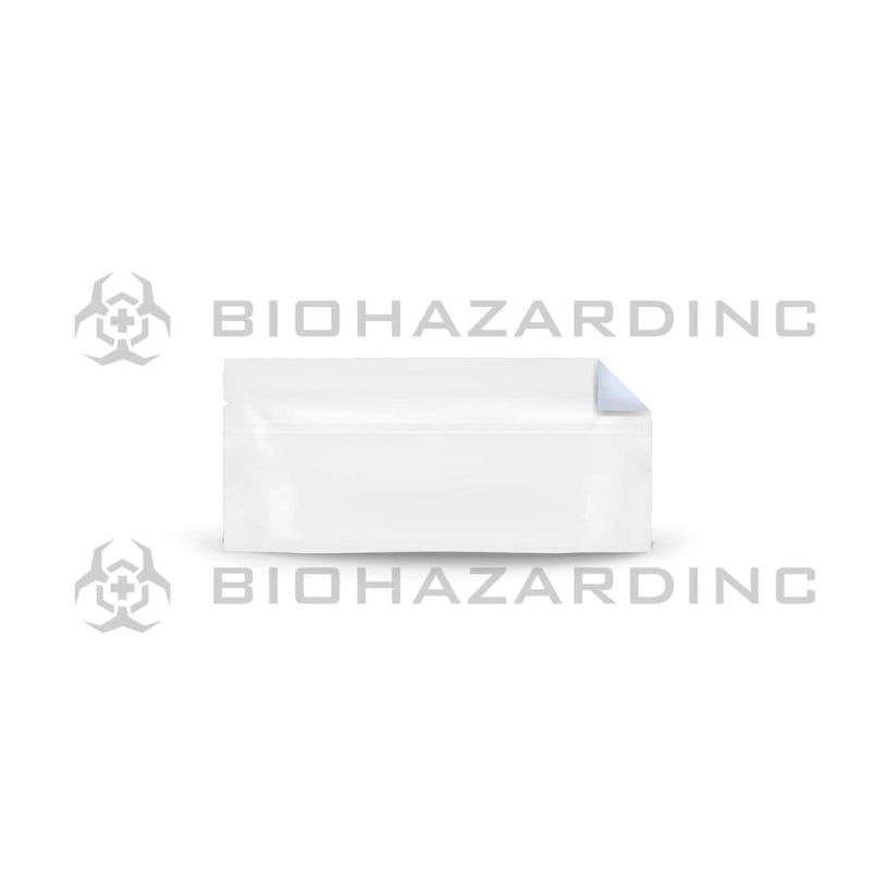 Biohazard Inc Mylar Bag White Vista Mylar Bags w/ Tear Notch for Pre-Roll/Syringe 6in x 2.71in - 1,000 Count (Tamper Evident)
