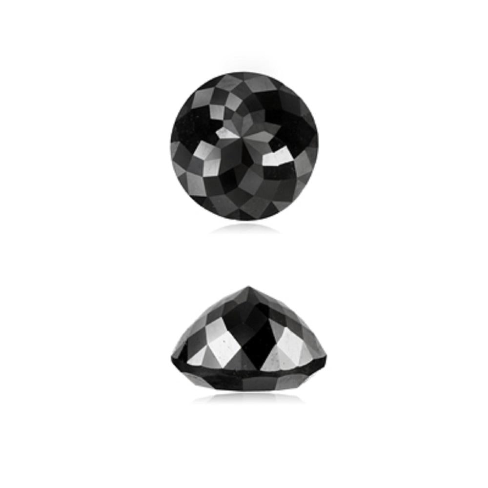0.54 Cts Natural Fancy Black Diamond AAA Quality Round Rose Cut