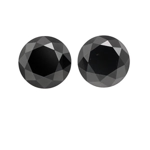 7.34 Cts Pair Treated Fancy Black Diamond AAA Quality Round Cut