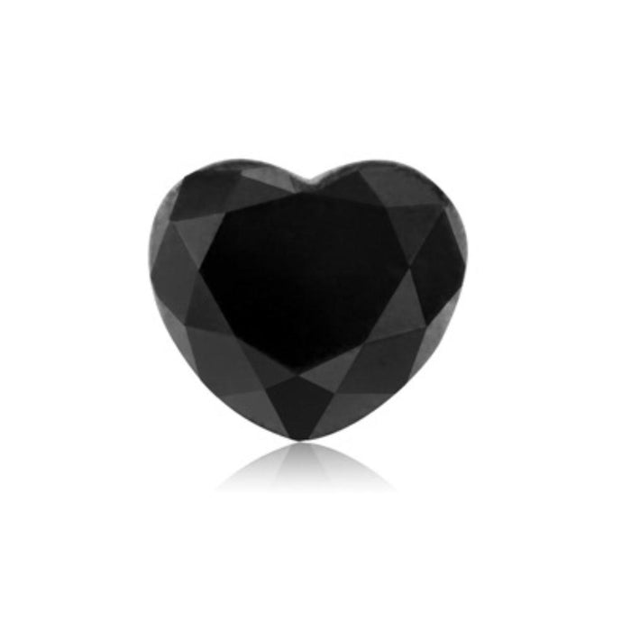 1.58 Cts Treated Fancy Black Diamond AAA Quality Heart Cut