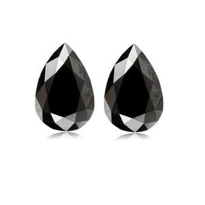 5.94 Cts Pair Treated Fancy Black Diamond AAA Quality Pear Cut