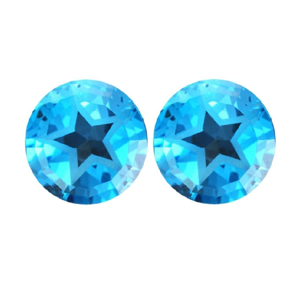 Swiss Blue Topaz Round Texas Star Cut