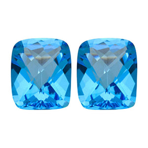 Swiss Blue Topaz Emerald Checkered Cut