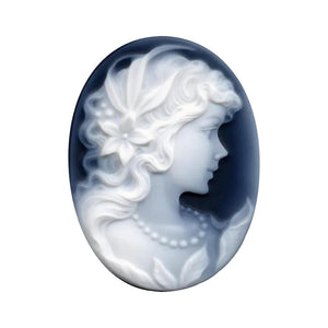 Oval Black Agate Victorian Lady A Cameo