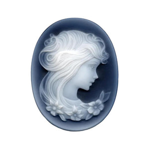 Oval Black Agate Victorian Lady B Cameo