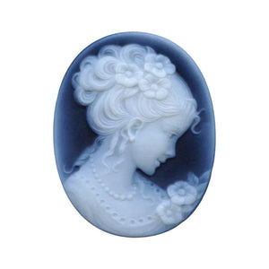 Oval Black Agate Victorian Lady C Cameo