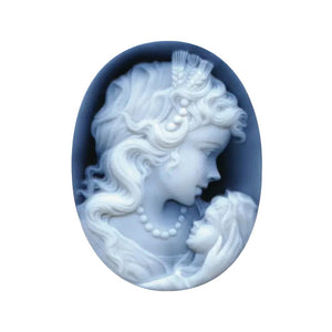 Oval Black Agate Woman & Child Cameo