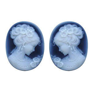 Oval Black Agate Pair Victorian Lady C Cameo