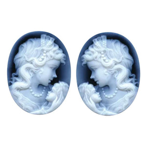 Oval Black Agate Pair Woman & Child Cameo