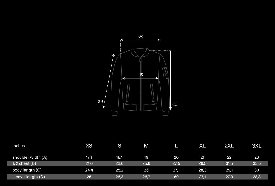 Flight Jacket Size Chart