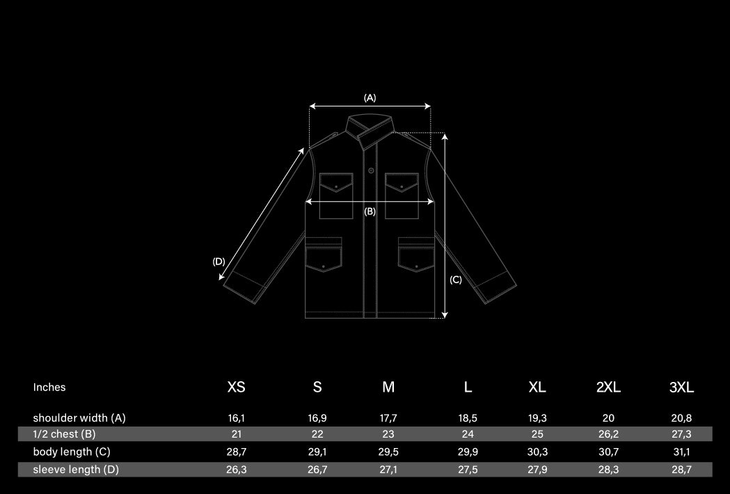 M-65 Flight Jacket Size Chart