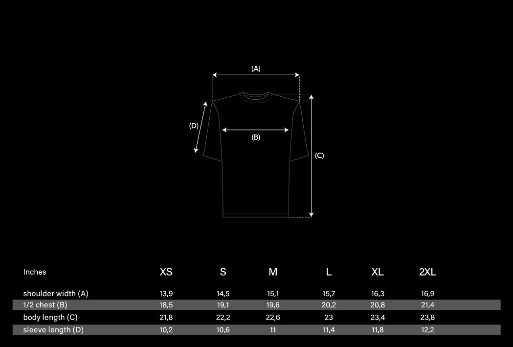 Shoulder Pads T-shirt size chart