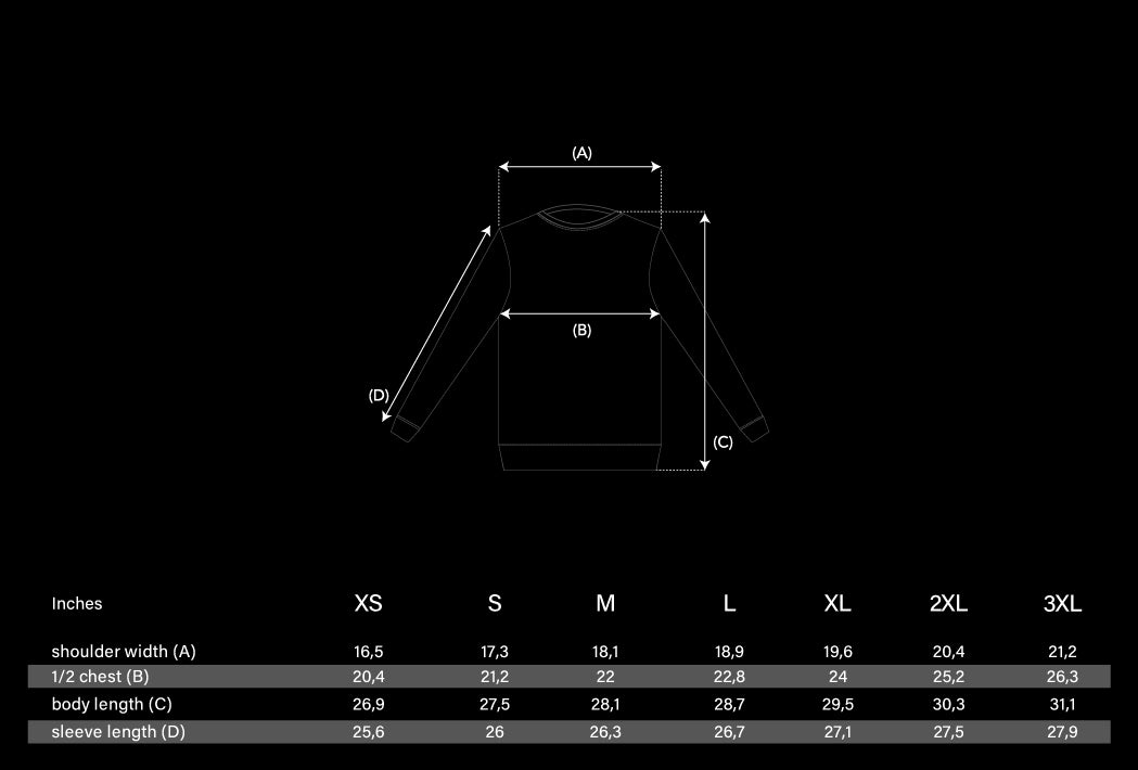 Sweater Size Chart
