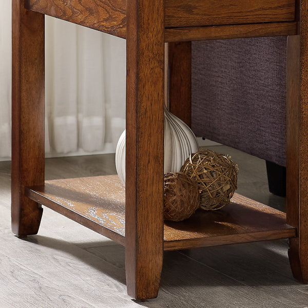 Oak Finish Chair Side End Table