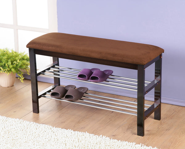 Dark Espresso Wood Shoe Bench with Chocolate Microfiber Seat